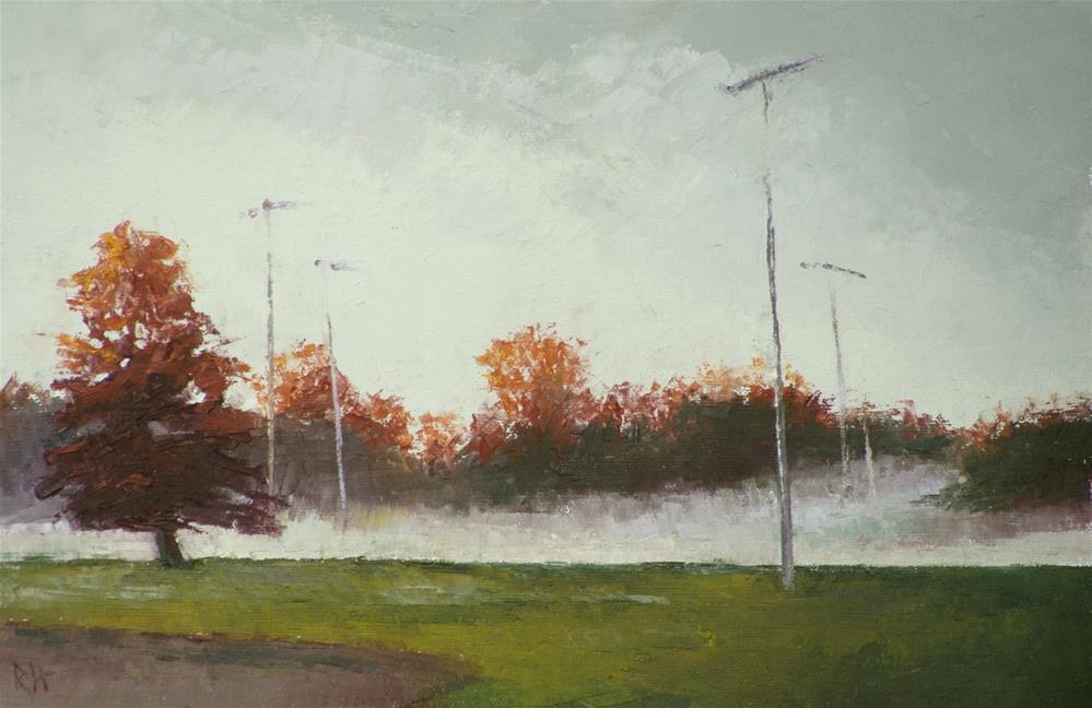 """""""Fog Across the Ball Field"""" original fine art by Rebecca Helton"""