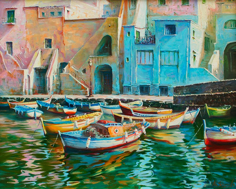 """Prosida fishing harbor, Italian scene oil painting"" original fine art by Nick Sarazan"