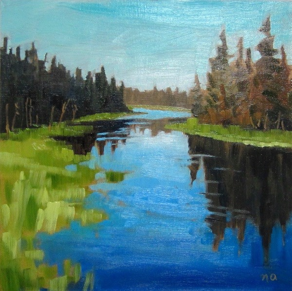 """Green On The River, Waskesiu"" original fine art by Nicki Ault"