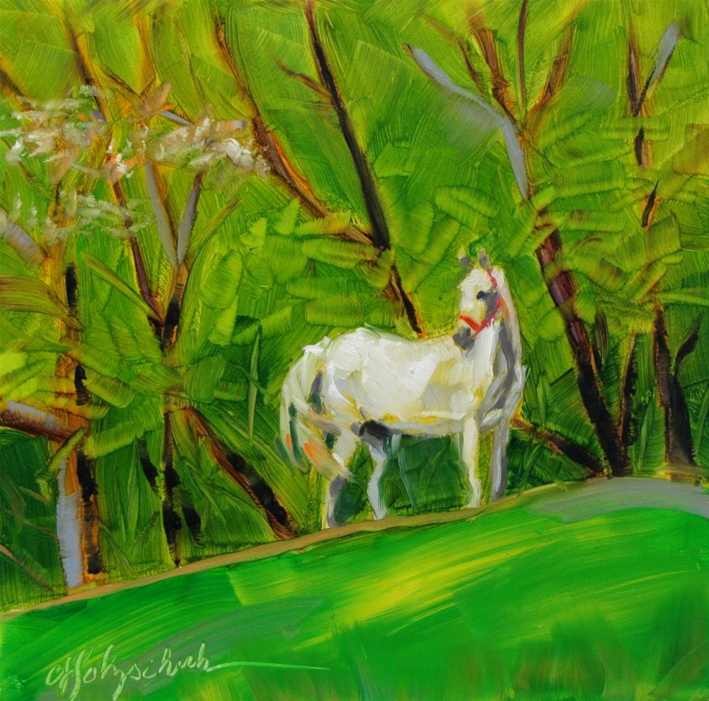 """Cheval Blanc"" original fine art by Christine Holzschuh"