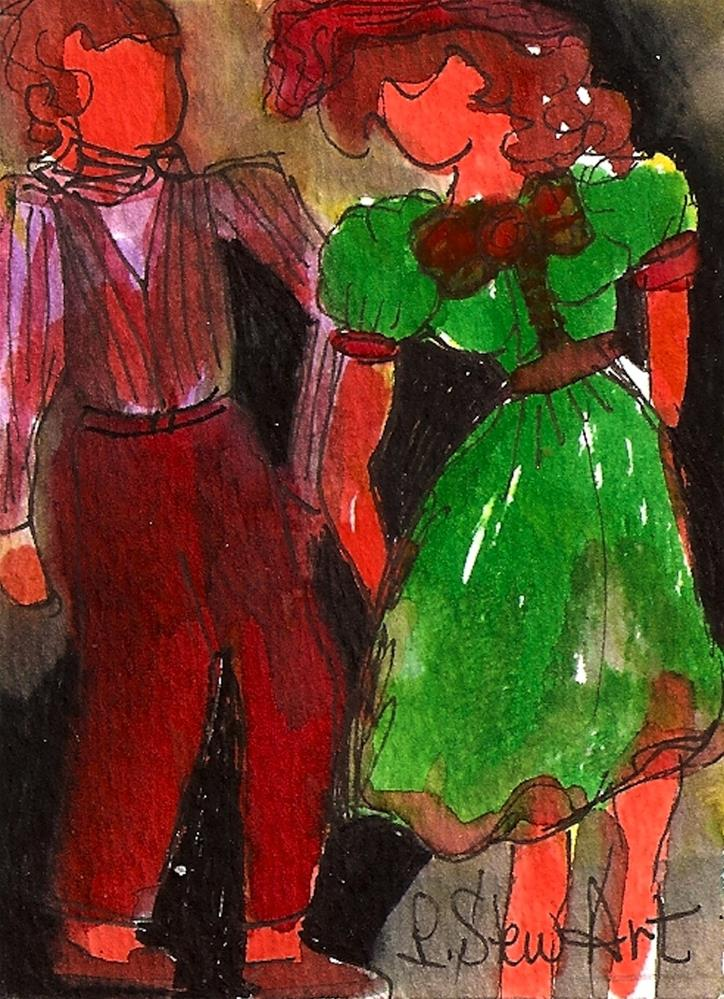 """ACEO Flirtation, Boy Meets Girl Watercolor and Pen on Heavy Paper, Original"" original fine art by Penny Lee StewArt"