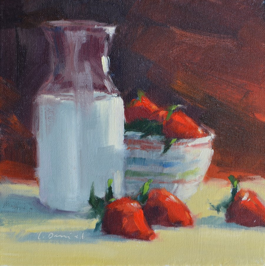 """Strawberries and Cream - Twenty-three of 30 in 30"" original fine art by Laurel Daniel"
