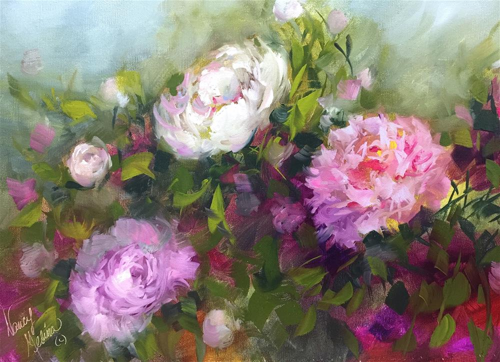 """Shadow Dancers Peonies - Detail - Nancy Medina Videos and Art Classes"" original fine art by Nancy Medina"
