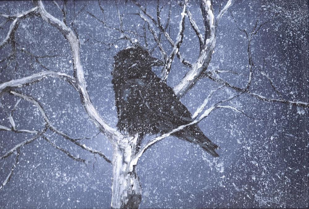 """""""Raven In Snow VI"""" original fine art by Daniel Varney"""