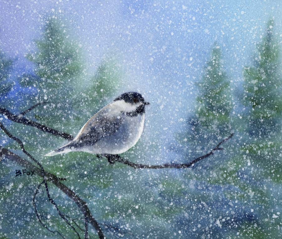 """CHICKADEE 8 watercolor bird painting"" original fine art by Barbara Fox"
