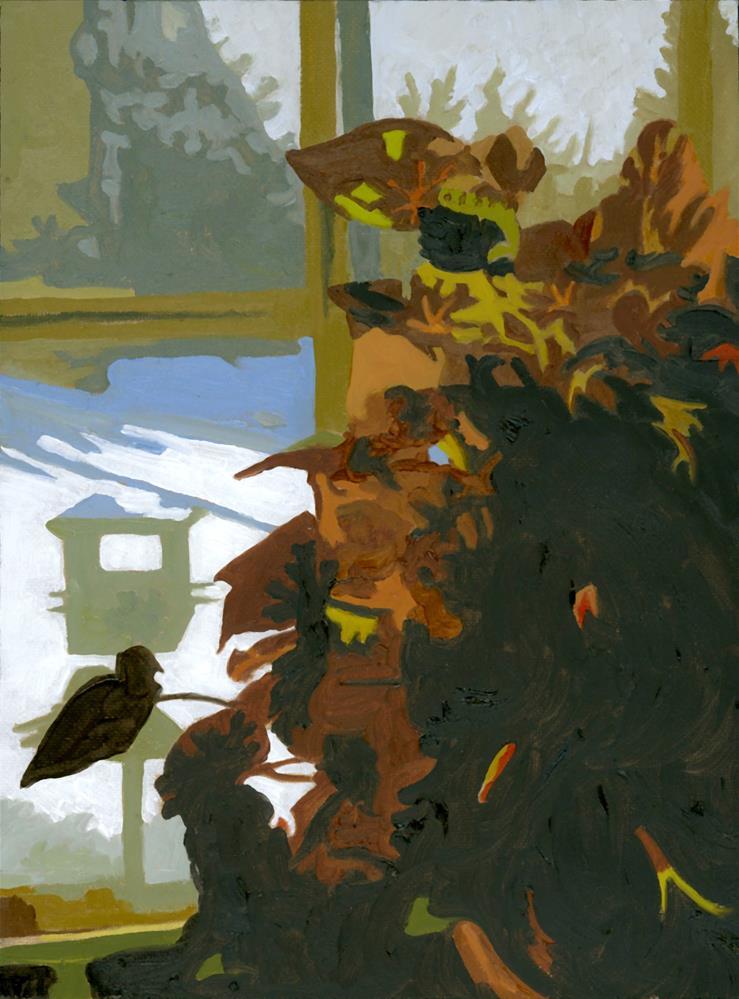 """BEGONIA AND BIRDFEEDER"" original fine art by Nancy Herman"