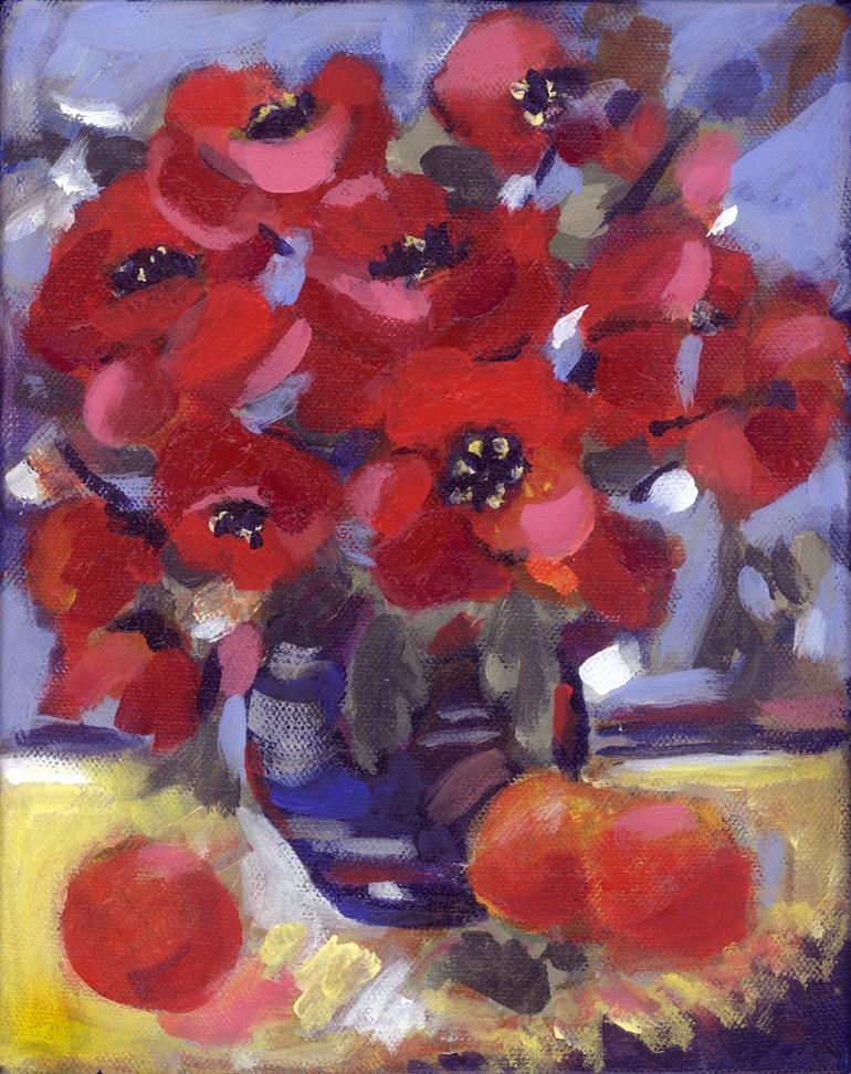 Poppy Pot original fine art by Pamela Gatens