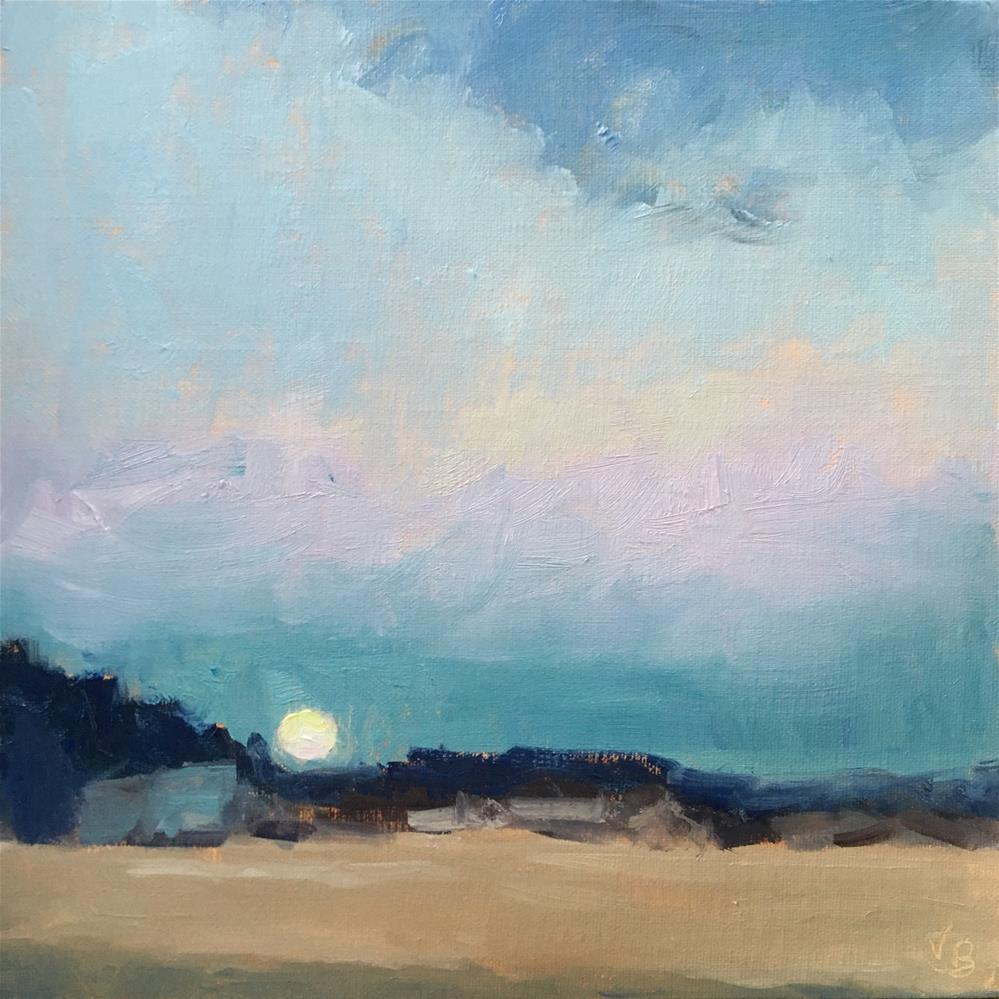 """Moonrise Over Dory Beach"" original fine art by Victoria  Biedron"