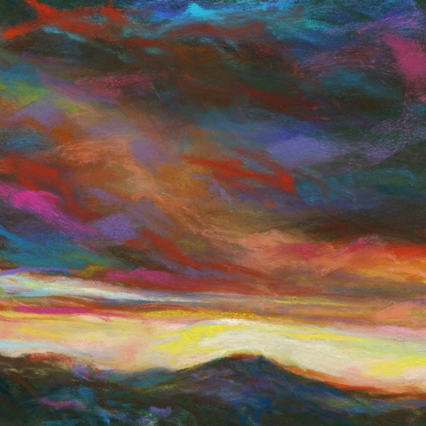 """SPLASH! SUNSET - 6 x 6 sky pastel by Susan Roden"" original fine art by Susan Roden"