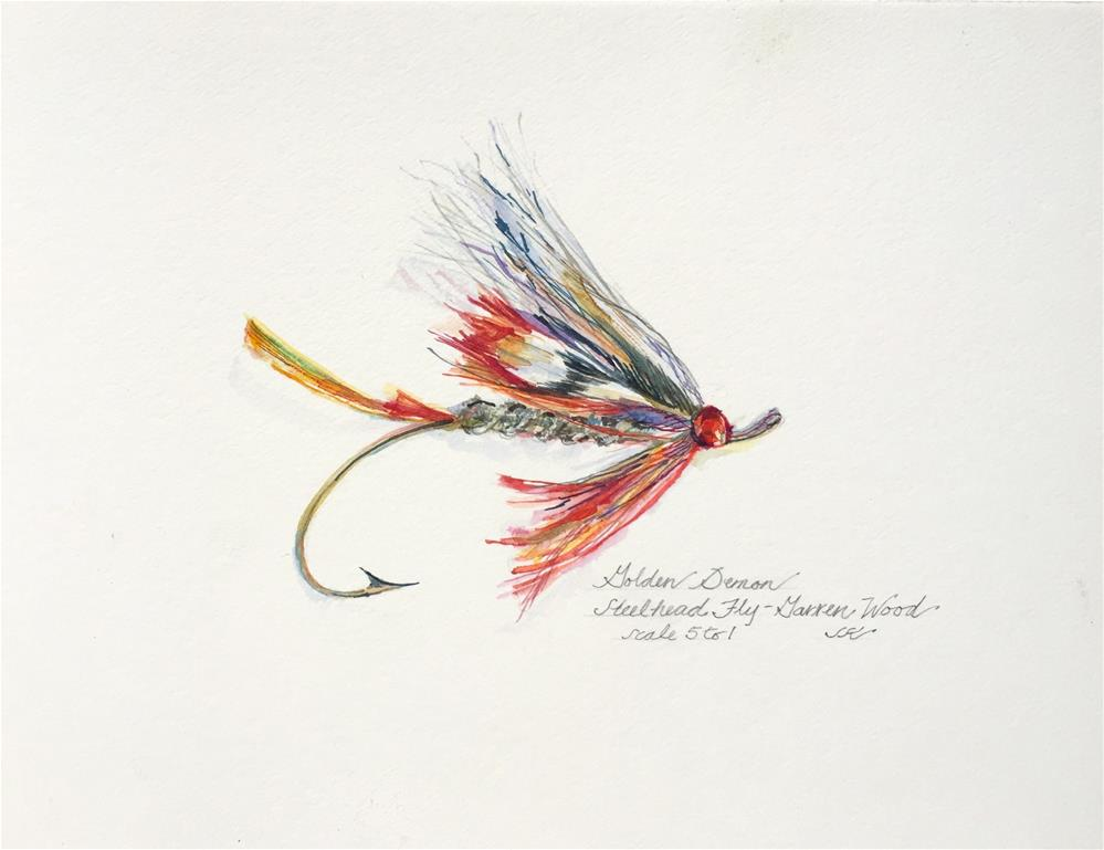 """Golden Demon - Steelhead Fly"" original fine art by Jean Krueger"