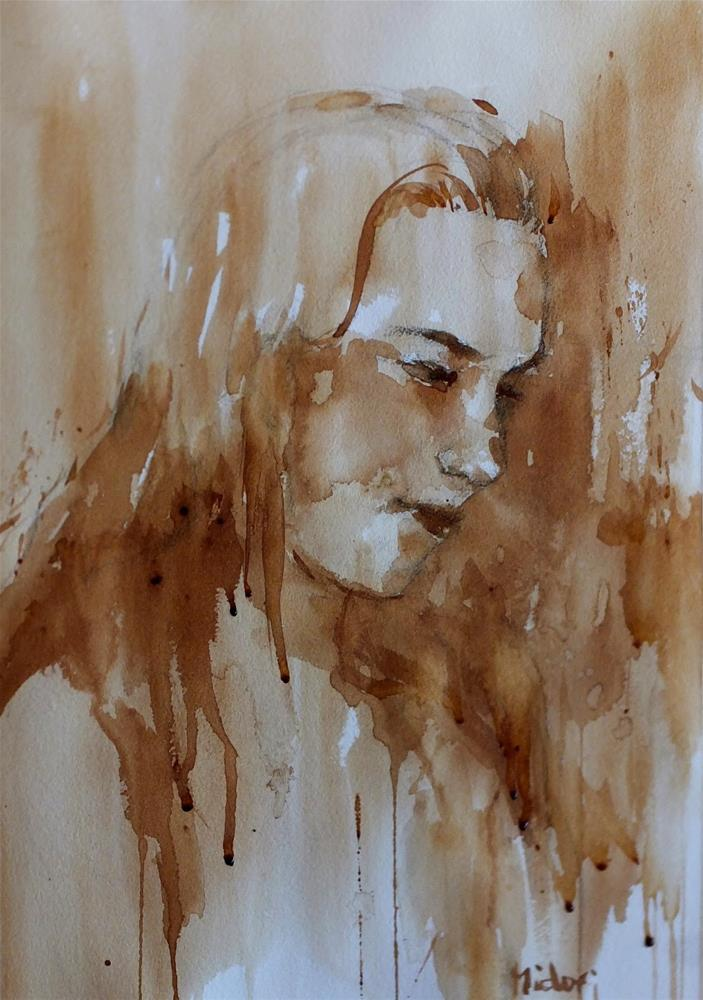 """coffee painting"" original fine art by Midori Yoshino"