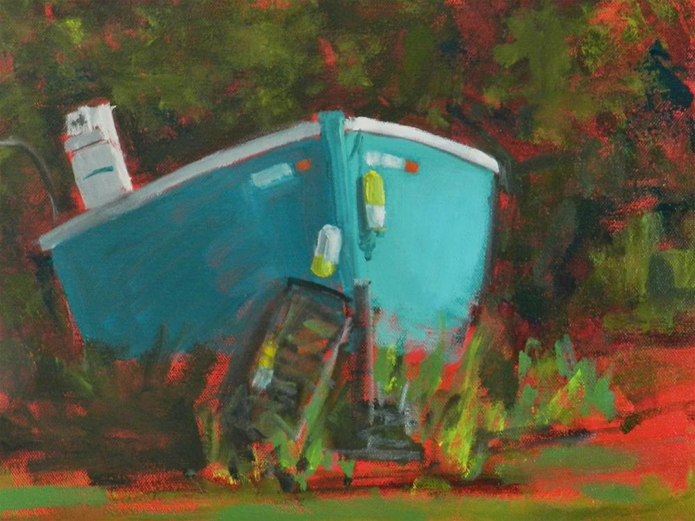 """Turquoise Boat (WIP) Acrylic by Kelley Carey MacDonald"" original fine art by Kelley MacDonald"