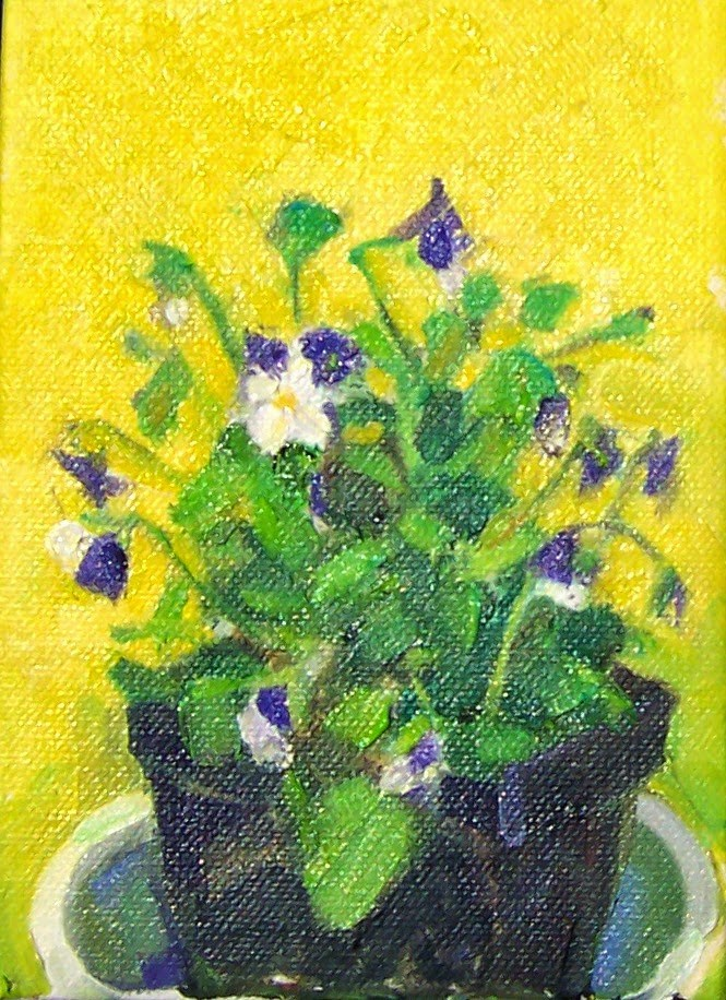 """Violas in Sunlight,still life,oil on canvas,7x5,price$200"" original fine art by Joy Olney"