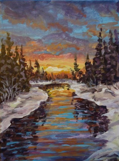 """Winter Evening, Magundy River"" original fine art by Jackie Irvine"