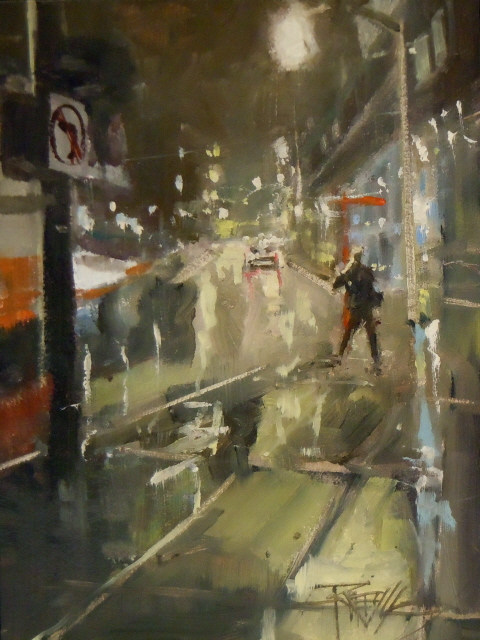 """Near the Institute  night city painting by Robin Weiss"" original fine art by Robin Weiss"
