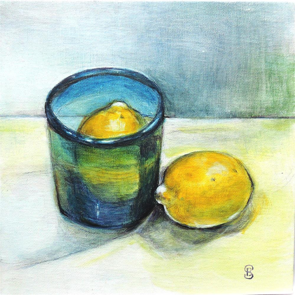 """Lemon Blue Lemon"" original fine art by Belinda Scheber"