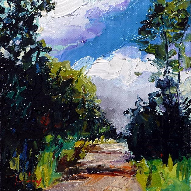 """forest road"" original fine art by Jurij Frey"
