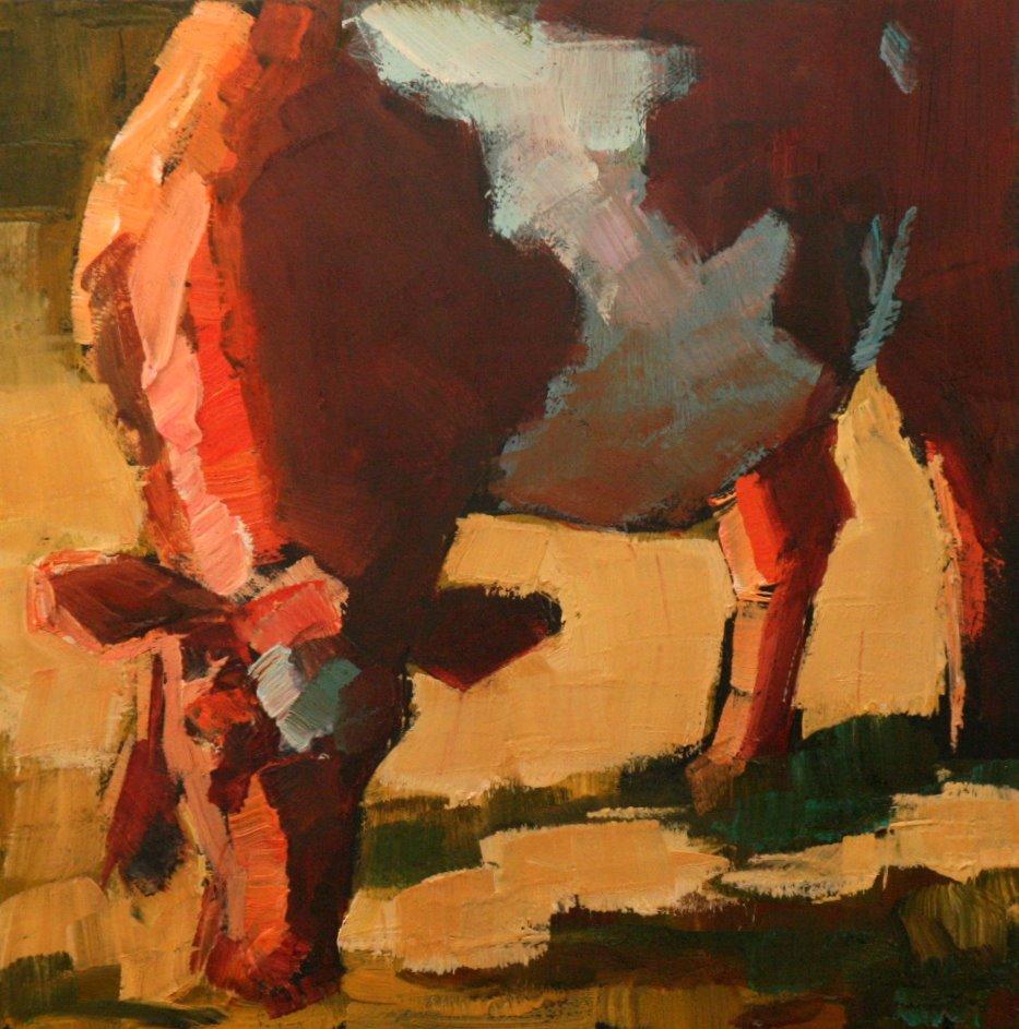 """cow squared"" original fine art by Carol Carmichael"
