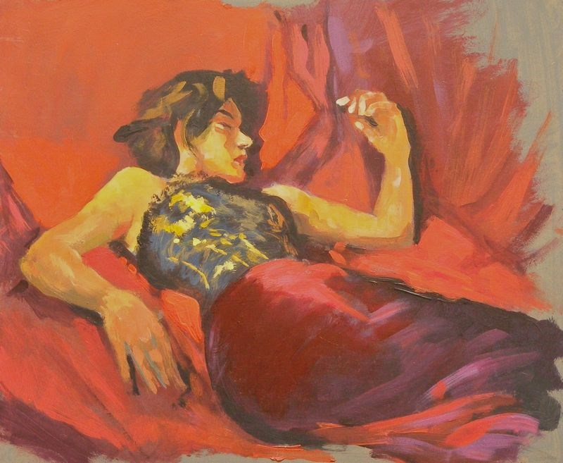 """Resting in satin"" original fine art by Peter Orrock"