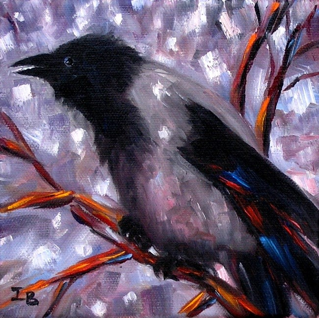 """Crow in the Middle of the Winter"" original fine art by Irina Beskina"