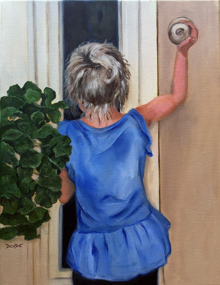 """Knock-knock, it's Harper!"" original fine art by Dicksie McDaniel"