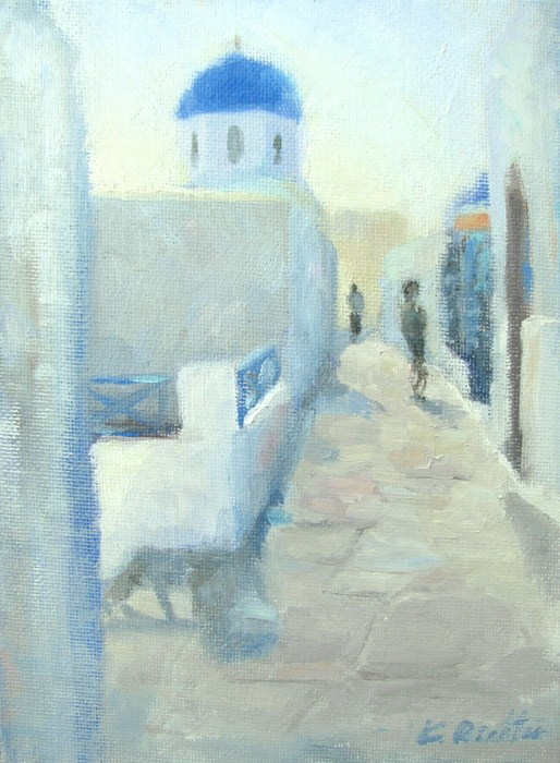 """Midday in Oia"" original fine art by Keiko Richter"