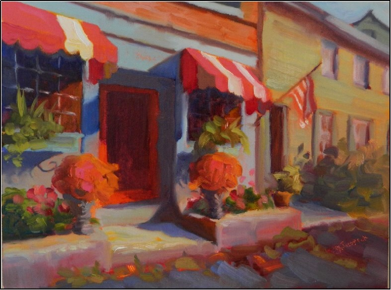 """Catherine's Restaurant 9x12, oil, Catherine's of Unionville, Pa. Chester county restaurants, cafes"" original fine art by Maryanne Jacobsen"