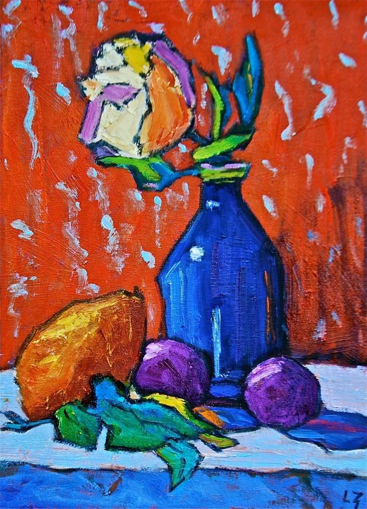 """Rose with Pear and Plums"" original fine art by Liz Zornes"