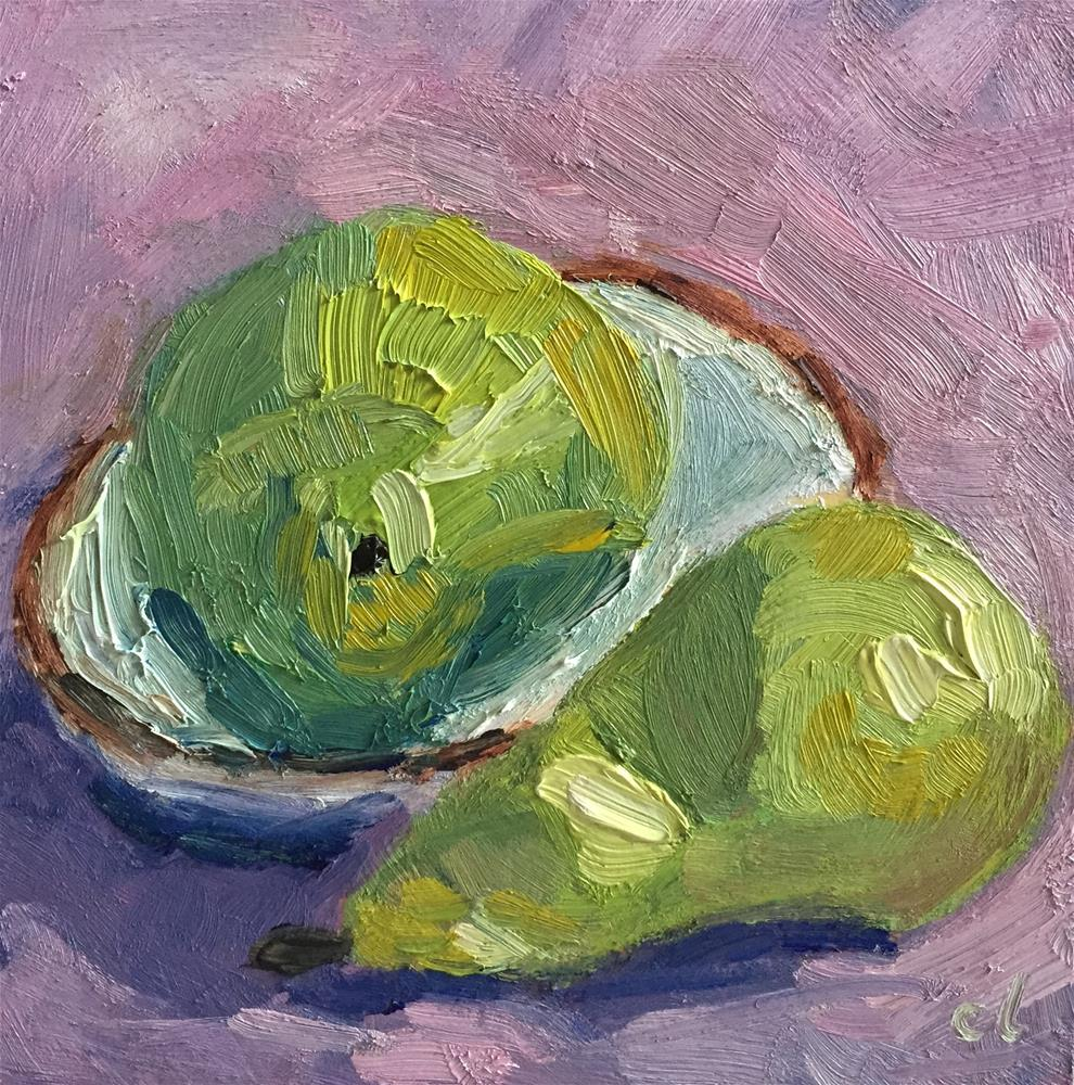 """Two Pears"" original fine art by Cheree Apalona Lueck"