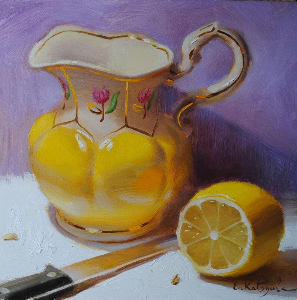 """Yellow on Purple"" original fine art by Elena Katsyura"