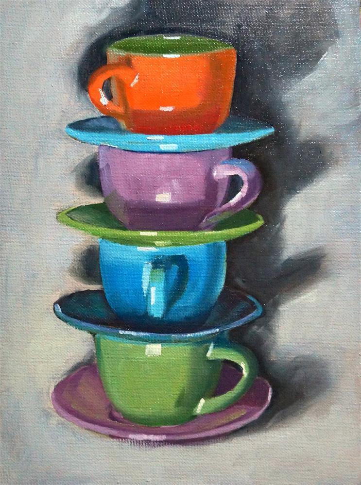 """Stacking cups"" original fine art by Dipali Rabadiya"