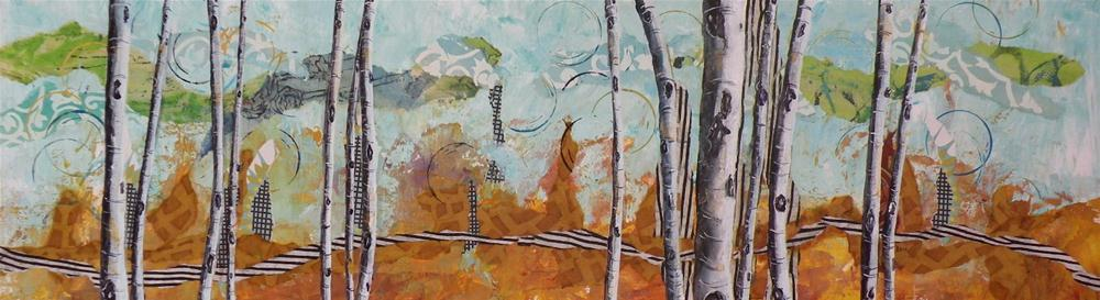 """ASPEN SUMMER ORIGINAL MIXED MEDIA PAINTING OF ASPEN © SAUNDRA LANE GALLOWAY"" original fine art by Saundra Lane Galloway"
