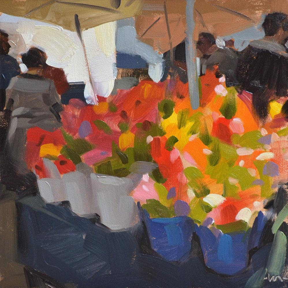 """Farmers Market Flowers"" original fine art by Carol Marine"