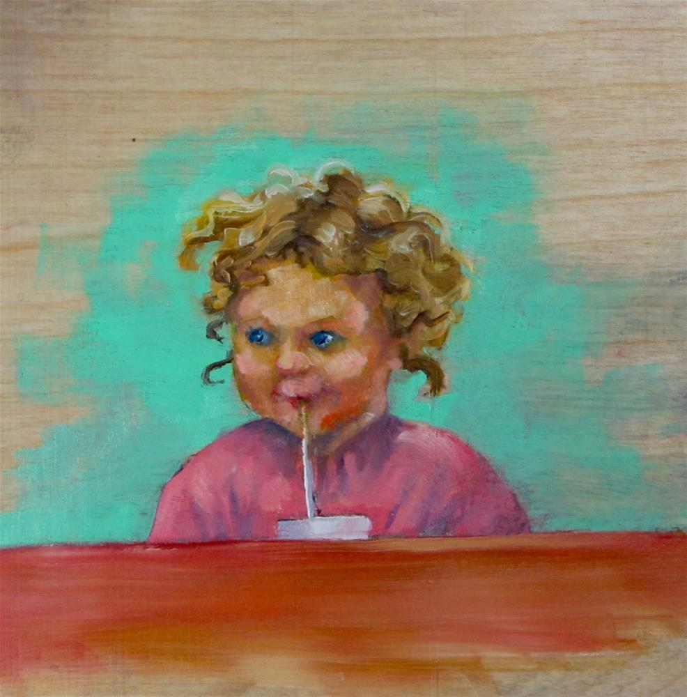 """Better With a Straw"" original fine art by Christine Holzschuh"