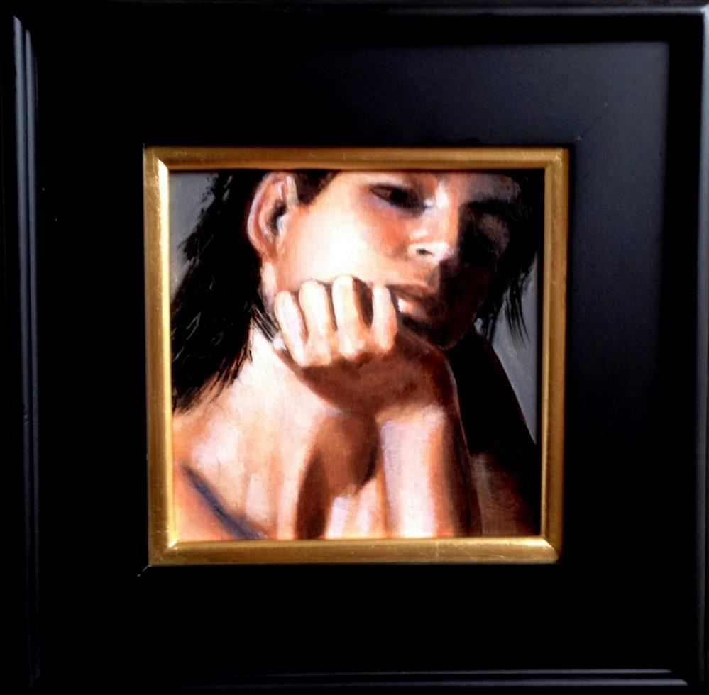 """Considering 8x8 oil on linen panel in wood frame"" original fine art by David Larson Evans"