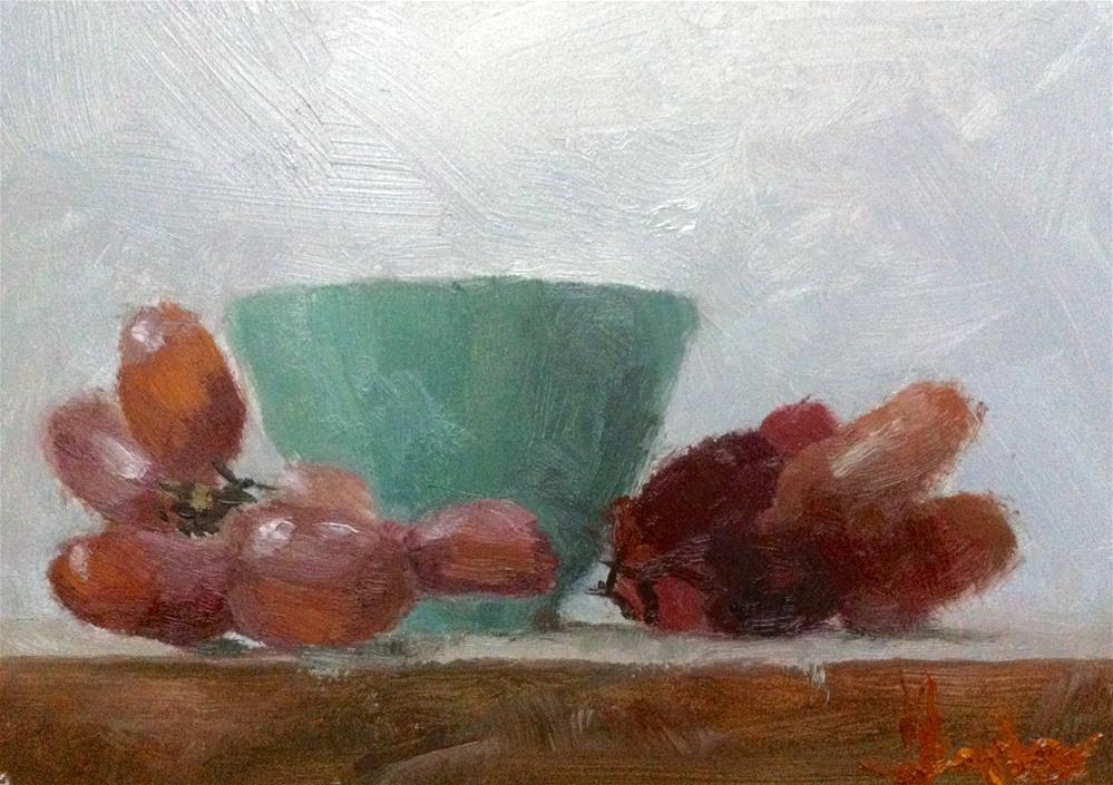 """Cup with Red Grapes"" original fine art by Richard Jones"