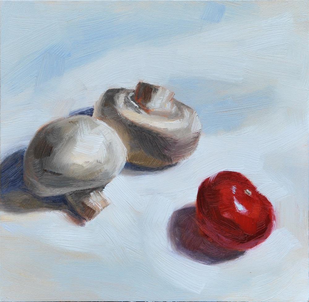 """Mushrooms and Cherry Tomato"" original fine art by Johan Derycke"