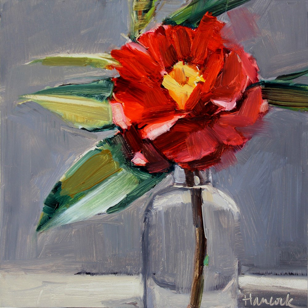 """Red Camellia, Round Glass Jar"" original fine art by Gretchen Hancock"