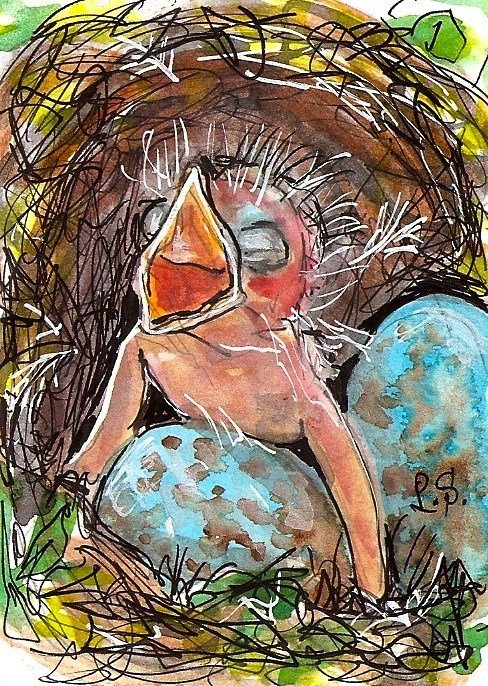 """ACEO Firstborn Baby Bird and Eggs in Nest Featherless by Penny StewArt"" original fine art by Penny Lee StewArt"