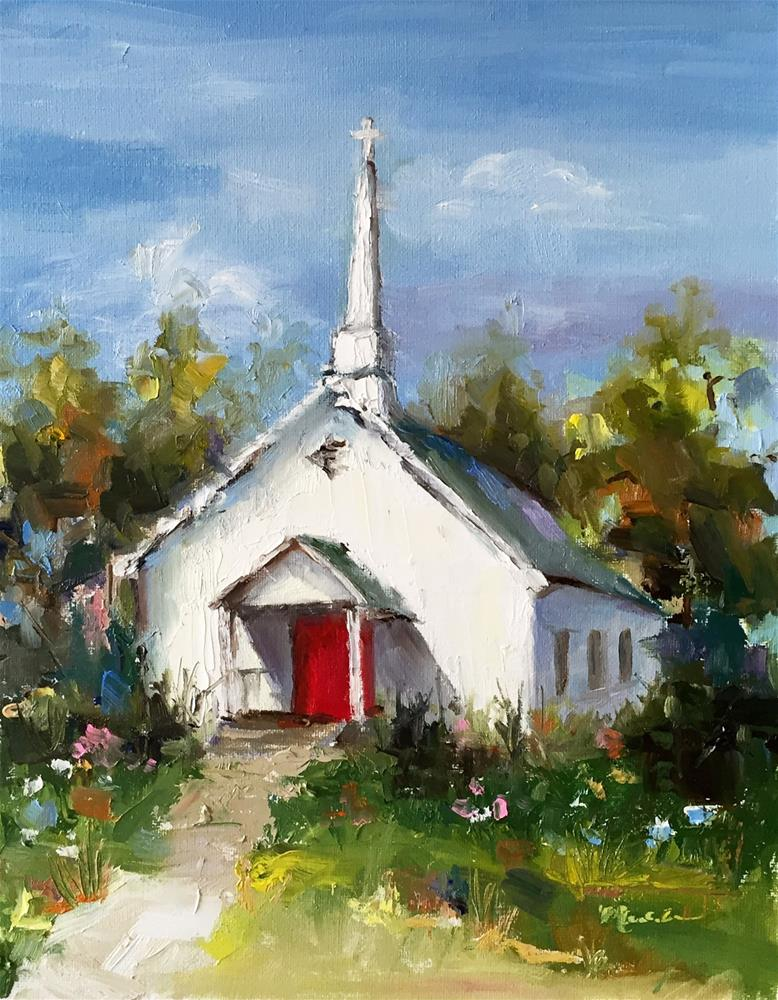 """Little White Church"" original fine art by Marcia Hodges"