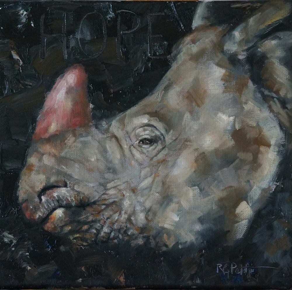 """""""Rhinoceros: Pink is the New Black"""" original fine art by Rhea  Groepper Pettit"""