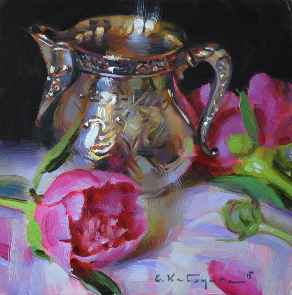 """Silver Creamer and Peonies"" original fine art by Elena Katsyura"