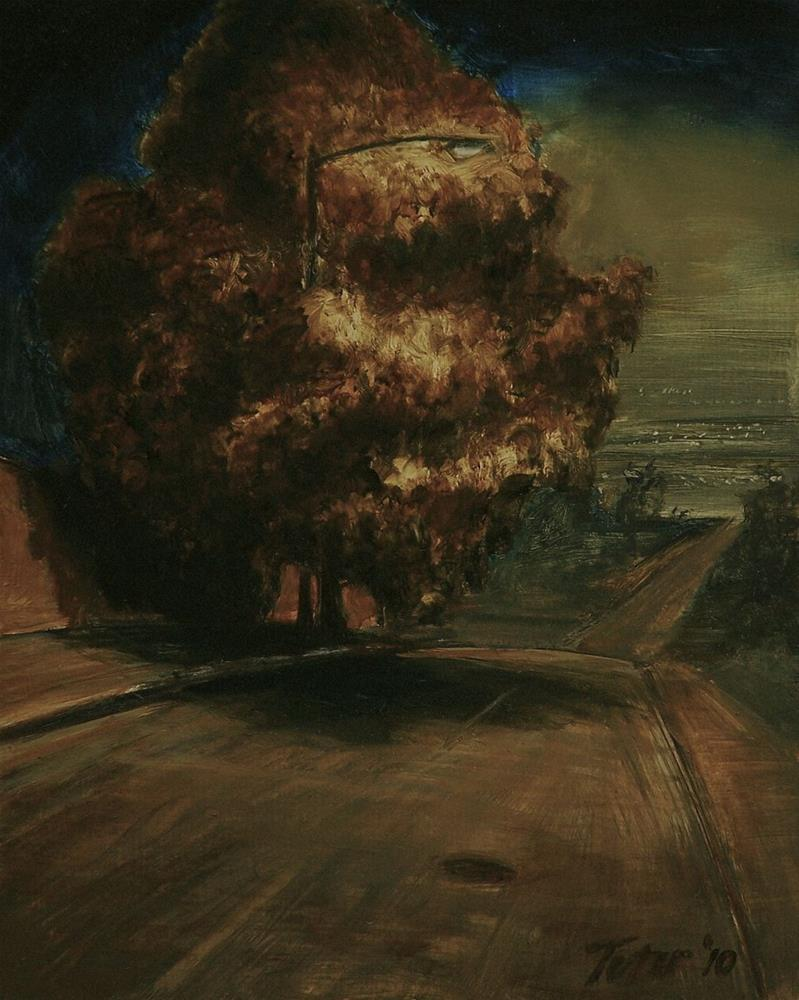 """Tree Nocturne (Downhill)"" original fine art by David J. Teter"
