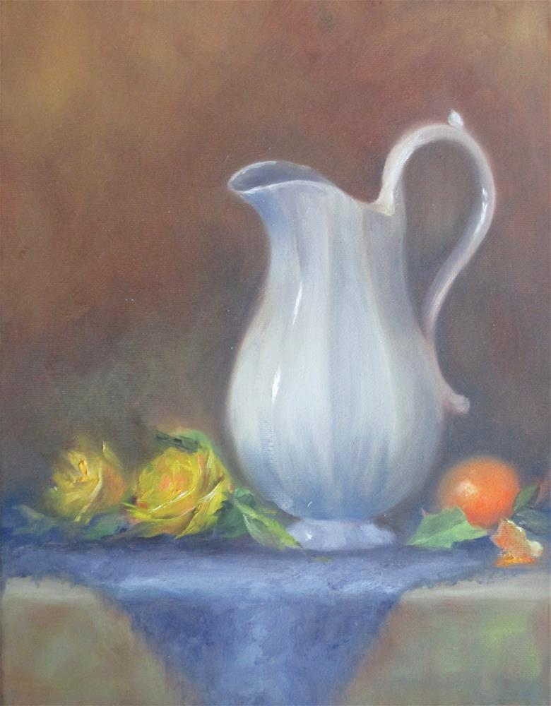 """White Pitcher"" original fine art by Barbara Wagner"