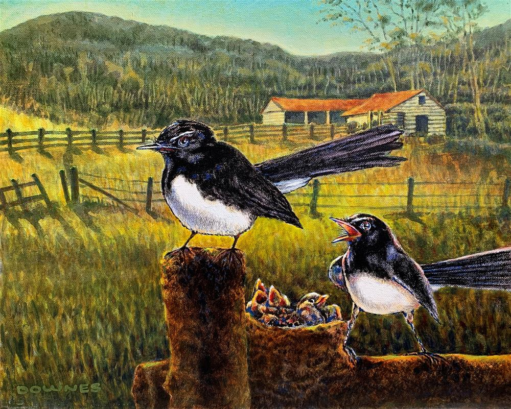 """287 WILLY WAGTAILS"" original fine art by Trevor Downes"