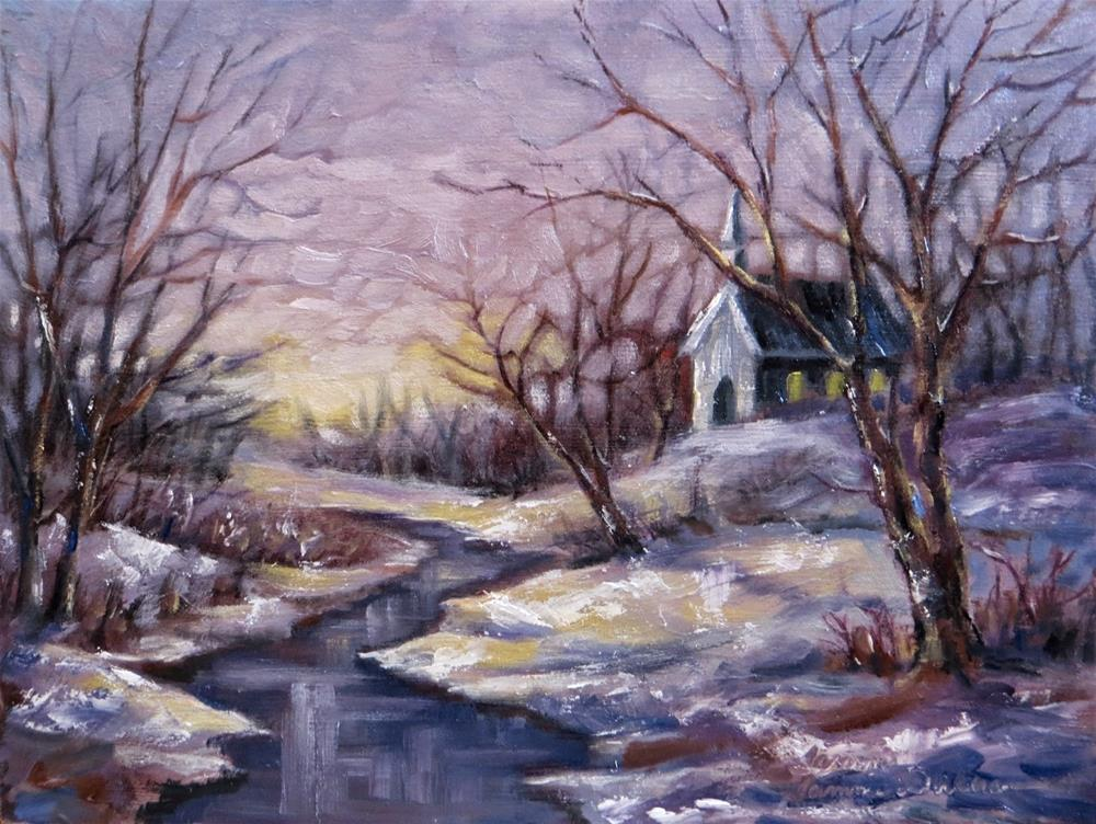 """Little Church by Winter Creek"" original fine art by Tammie Dickerson"