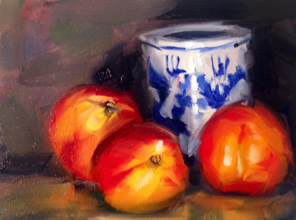 """Nectarines with Pot"" original fine art by Thomas Ruckstuhl"