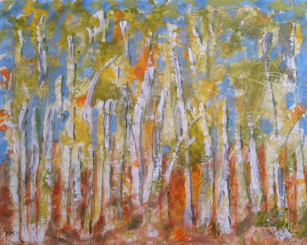 """Screw Auger Falls Birches"" original fine art by Dotty  Seiter"