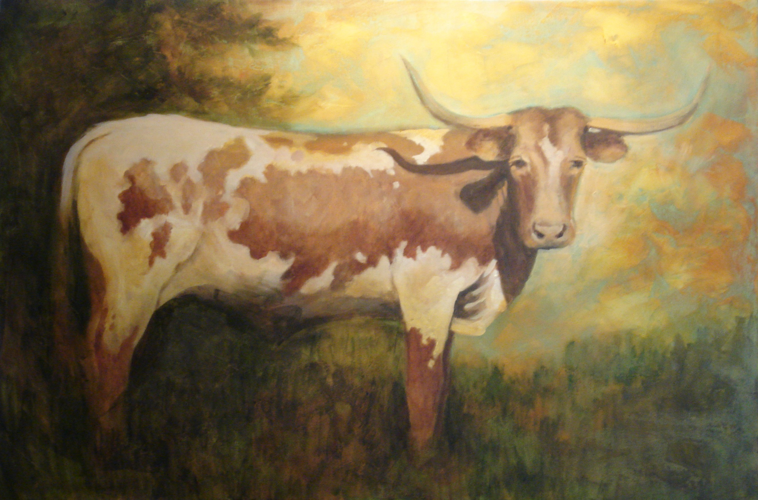"""Texas Longhorn"" original fine art by Margie Whittington"