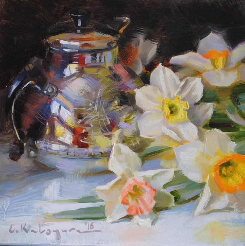 """Silver Teapot and Daffodils"" original fine art by Elena Katsyura"